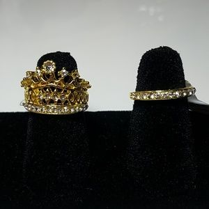 Jewelry - Gold plated crown ring and matching band